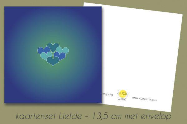 blauwe kaart met blauw-groene hartjes