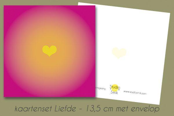 roze kaart met geel hart